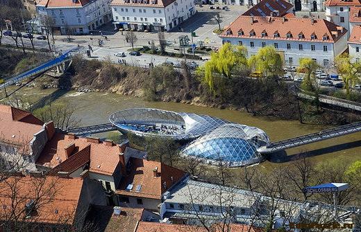 Murinsel - мост-остров Грац Австрия
